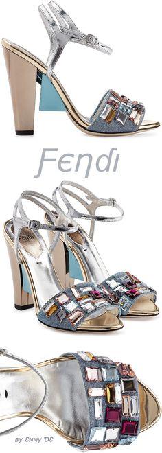 Emmy DE * Fendi Metallic Leather Sandals 2015