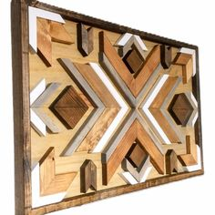 Gorgeous geometric wood wall art made from individually cut and stained pieces of wood. Wood Wood, Reclaimed Wood Wall Art, Reclaimed Wood Furniture, Wood Art, Wood Walls, Salvaged Wood, Industrial Furniture, Vintage Industrial, Barn Wood