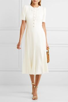White cady and chiffon Concealed hook and zip fastening at back 48% rayon, 44% acetate, 5% silk, 3% elastane; lining: 76% silk, 16% cotton, 4% elastane, 4% nylon Dry clean Made in Italy