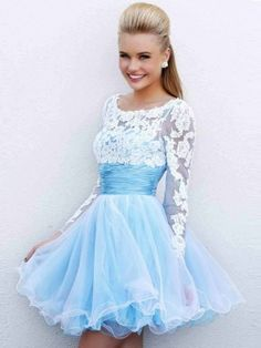 A-line/Princess Scoop Long Sleeves Applique Tulle Short/Mini Prom Dresses