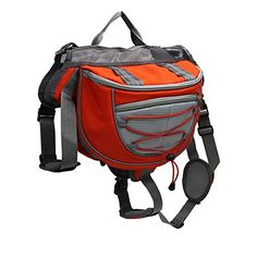 wowowoTM Dog Backpack Hiking Camping Training Adjustable Dog Saddle Bag for Medium  Large Dog Orange S ** Want additional info? Click on the image.