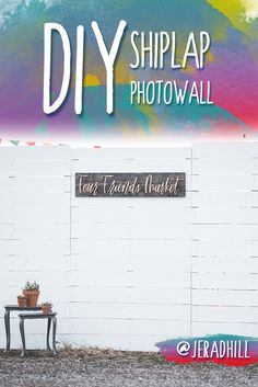Build your own shiplap wall for a photo booth or whatever! #shiplap #photobooth #photowall