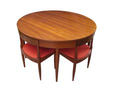 Vintage teak Ernst Hansen Danish dining table & chairs nest. How awesome is this design?