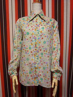 1970's Wrangler Peter Max Women's All Over Pattern Shirt size 36(1970年代製 ラングラー×ピーターマックス レディース総柄シャツ)