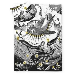 Moomin Oshun Oxtra duvet cover set 150 x 210 cm by Finlayson Linen Bedding, Bedding Sets, Black Bedding, Bed Linen, Duvet Cover Sets, Pillow Covers, Moomin Shop, Tove Jansson, Headboards For Beds