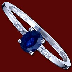 Gold ring, diamonds, sapphire, oval