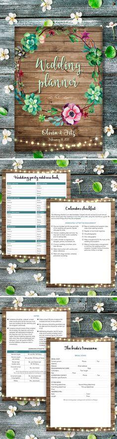 Wedding Planner Book Planning Printable Binder Printables Checklist Plan Letter Size Instant Download