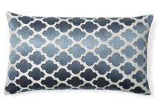 Moroccan 14x24 Embroidered Pillow, Gray