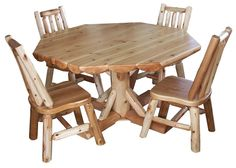 images of rustic dining tables | Round Rustic Dining Table Set Amish Cedar Log Home Cabin Furniture ...