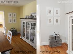 Paint color in the right hand picture is Gray Owl by Benjamin Moore but at a half tint to make it lighter.
