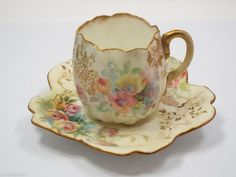 Royal Doulton Tea Cup & Saucer, Multi-color Floral pattern Burslem England