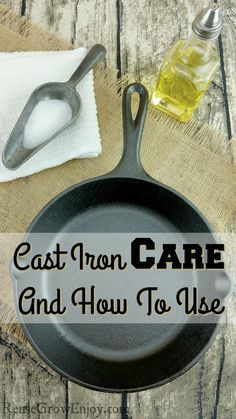 Are you wanting to use cast iron cookware but not sure how to care for it? Check out this Cast Iron Care And How To Use tips! http://reusegrowenjoy.com/cast-iron-care-use/