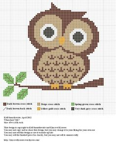 Cross Stitch Charts Whoo Hoo Me – Cute Owl Cross Stitch Pattern – Cross-Stitch - This free chart from Kinkavel Krosses is a hoot – as in a hoot owl. It's a cute little owl and you will certainly want to get the free chart. Cross Stitch Owl, Cross Stitch Animals, Cross Stitch Designs, Cross Stitching, Cross Stitch Embroidery, Embroidery Patterns, Cross Stitch Patterns, Free Cross Stitch Charts, Owl Patterns