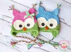 Colorful Owl Hats by dee