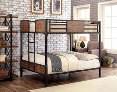 South Bank Wood and Metal Full over Full Bunk Bed
