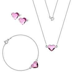 Komplet z serduszkami Swarovski Swarovski, Silver, Jewelry, Jewlery, Jewerly, Schmuck, Jewels, Jewelery, Fine Jewelry