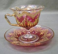 Vintage Moser Cranberry Glass Pedestal Cup and Saucer Gold Enameling ,Art Glass Tea Cup Set, My Cup Of Tea, Tea Cup Saucer, Teapots And Cups, Teacups, Glass Coffee Cups, Cranberry Glass, Tea Art, China Tea Cups