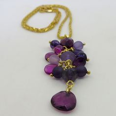 Perfect with v-neck t-shirts or your fave LBD, this adorable gold-tone cluster drop necklace is available in shades of purple & shades of amber. Drop Necklace, Pendant Necklace, Shades Of Purple, Jewelry Making, Chain, Gold, Necklaces, Jewellery Making, Make Jewelry