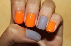 Orange and Grey fall nails