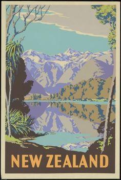Sello: New Zealand (lake and mountains) (Nueva Zelanda) (Classic Travel Posters) Mi:NZ 3478 Retro Poster, Vintage Travel Posters, Vintage Postcards, Vintage Ads, Retro Print, Poster Photo, Tourism Poster, Photo Vintage, Kunst Poster