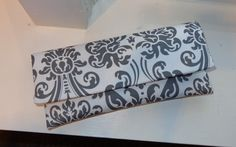 White and Gray Clutch Wedding Clutch Bridesmaid by AnnabelleMB