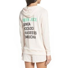 Women's Junk Food Healthy Eating Lounge Hoodie ($75) ❤ liked on Polyvore featuring tops, hoodies, babe, hoodie top, sweatshirt hoodies, hooded pullover, white top and white hoodies
