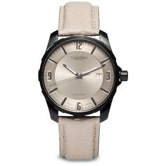 Calvin Klein Women's Grain Calf Strap Stainless Steel Automatic Watch (23.355 ARS) ❤ liked on Polyvore featuring jewelry, watches, cream, calvin klein jewelry, automatic watch, stainless steel wrist watch, calvin klein and cream jewelry
