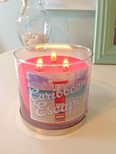 One of many bath and body works summer collection candles #bathandbodyworks #caribbeanescape #summer