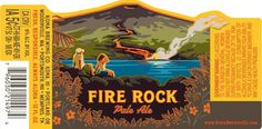 Kona Brewing Company Fire Rock Pale Ale - This Fire Rock Pale Ale label illustration is another fine example of posterization, adapting a colorful landscape into a stunning, limited tone graphic.