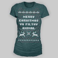 OBSESSED with my new tee!!! Thinking about ordering one for River too!! Is it Black Friday yet? Ugly Christmas Sweater tshirt. Merry Christmas Ya Filthy Animal #homealone #spreadingchristmascheer