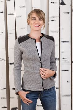 "Blazer - Steppjacke ""Johann"" - ein Designerstück von Bergluft bei DaWanda Blazer, Blouse, Long Sleeve, Sleeves, Tops, Women, Fashion, Back Stitch, Jackets"