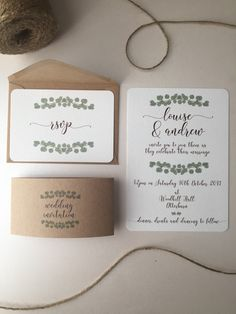 EVE Rustic Wedding Invitation Set with Eucalyptus