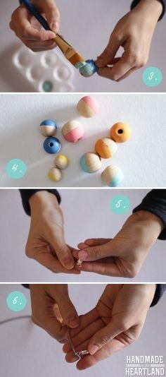DIY Painted Wood Bead Necklace. Easy and fun DIY Jewelry project. Painted Bead Tutorial. HandmadeintheHear...