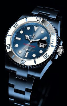 Watch What If - Rolex Submariner - Blue Anodized with White . - Watch What If – Rolex Submariner – Blue Anodized with Whit… Dream Watches, Luxury Watches, Cool Watches, Watches For Men, Wrist Watches, Stylish Watches, Rolex Submariner Azul, Submariner Watch, Rolex Datejust