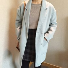 Korean fashion - grey sweater, plaid skirt, blue trench coat, stockings and brown messenger bag
