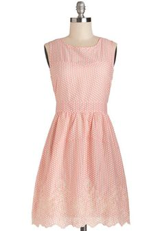 Likability Factor Dress by Tulle Clothing - Cotton, Woven, Mid-length, Pink, White, Polka Dots, Embroidery, Casual, A-line, Sleeveless, Bett...