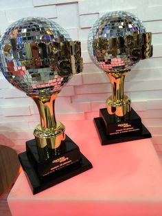 The magical DWTS Mirrorball Trophies are glowing in our GMA #SocialSquare!