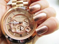Should I get some rose gold polish to compliment my new rose gold watch? Michael Kors Rose Gold, Michael Kors Watch, Rose Gold Nail Polish, Gold Watch, Mk Watch, Cool Watches, Big Watches, My Style, Bling Bling