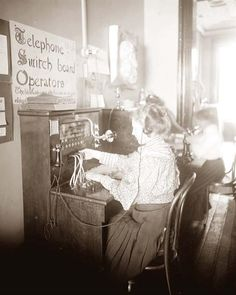 girls operating telephone switchboard---My great aunt Gertie did this.