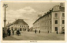 Fotka: Dolná časť Kollárovho námestia okolo roku 1920. Zdroj obr.: OZ Bratislavské rožky  #Slovakia #Bratislava #oldTimes #KollarovoNamestie #retro