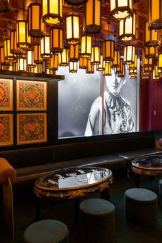 Montreal architecture firm Ménard Dworkind has created a microcosm of Chinatown at this a colossal pan-Asian restaurant and bar in Montreal's Laval suburb. Chinese Interior, Asian Interior, Japanese Interior, Interior Ideas, Restaurant Interior Design, Cafe Interior, Restaurant Interiors, Dark Interiors, Shop Interiors