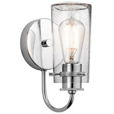 The Braelyn™ 1 light wall sconce features an Chrome finish and clear seeded glass shades. The Braelyn™ offers a vintage industrial design that works well with rustic, country and lodge décor. Lighting Sale, Barn Lighting, Vanity Lighting, Wall Sconce Lighting, Modern Lighting, House Lighting, Bathroom Lighting, Contemporary Wall Sconces, Nightstand Lamp