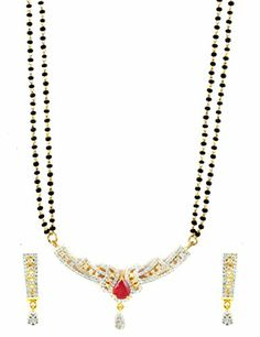 AD CZ Mangal Sutra set with Pear Shaped Semi-Precious Ruby Stone - MS10475RB