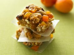 Apricot-Almond Energy Bars- substitution: for each cup of corn syrup use 1 cup sugar plus 1/4 cup water