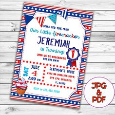 printable 4th of july birthday invitation fireworks firecracker