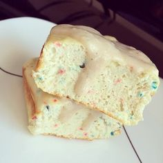 Confetti Protein Cake. Recipe: in a bowl, mix 1 scoop @Cellucor cor-fetti protein powder, 1 TBSP coconut flour, 1 egg white, 1/4 cup almond milk, 1 tsp baking powder, 1 tsp vanilla extract. Bake in a sprayed bread tin for 18 minutes at 375. Topping is 1 TBSP @Sweet Spreads vanilla cupcake coc-butter mixed with 1/8 scoop @Cellucor cor-fetti protein powder and enough almond milk to make a paste. Macros: 330 calories, 14 grams of fat, 14 net carbs, 35 grams of protein.