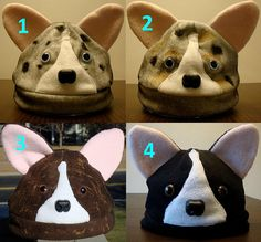 I LOVE these corgi hats, they make me smile!!    ADULT Fleece Welsh Corgi Hats by gamerpaige on Etsy, $30.00