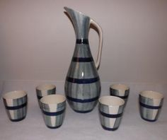 ZESTAW DO WINA WŁOCŁAWEK J.SOWIŃSKI 1959r. Coffee Set, Picasso, Poland, Art Deco, Vase, Ceramics, Antiques, Drinks, Design