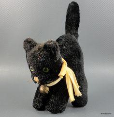Tom Cat Halloween Kitty may be Hermann Plush 7 cm Neck Bell Silk Bow c1960s noID