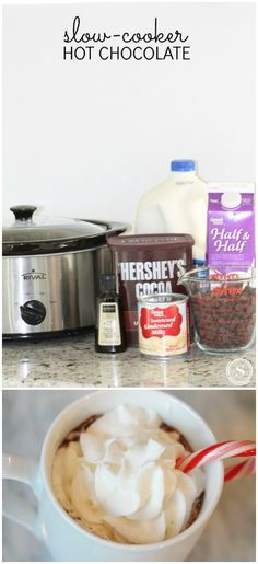 Quick and Easy Hot Drink Recipe for Holiday Parti… Crockpot Hot Chocolate Recipe! Quick and Easy Hot Drink Recipe for Holiday Parties and Snow Days! Hot Chocolate Party, Hot Chocolate Recipes, Hot Chocolate Recipe Crock Pot, Chocolate Chocolate, Chocolate Smoothies, Chocolate Shakeology, Chocolate Mouse, Chocolate Snacks, Chocolate Crinkles
